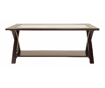 Raymour & Flanigan Glass Coffee Table + 2 Side Tables