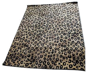 Turkish Area Rug w/ Ivory Background & Black Brown Pattern