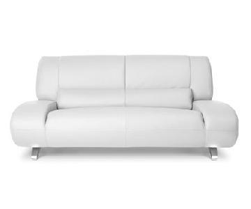 Zuri Furniture White Leather Contemporary Sofa