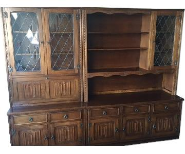 English Carved 4-Piece Display/Storage & Bar Unit