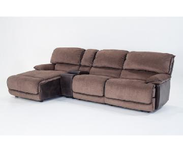 Dawson 4 Piece Brown Suede Console Sectional Sofa