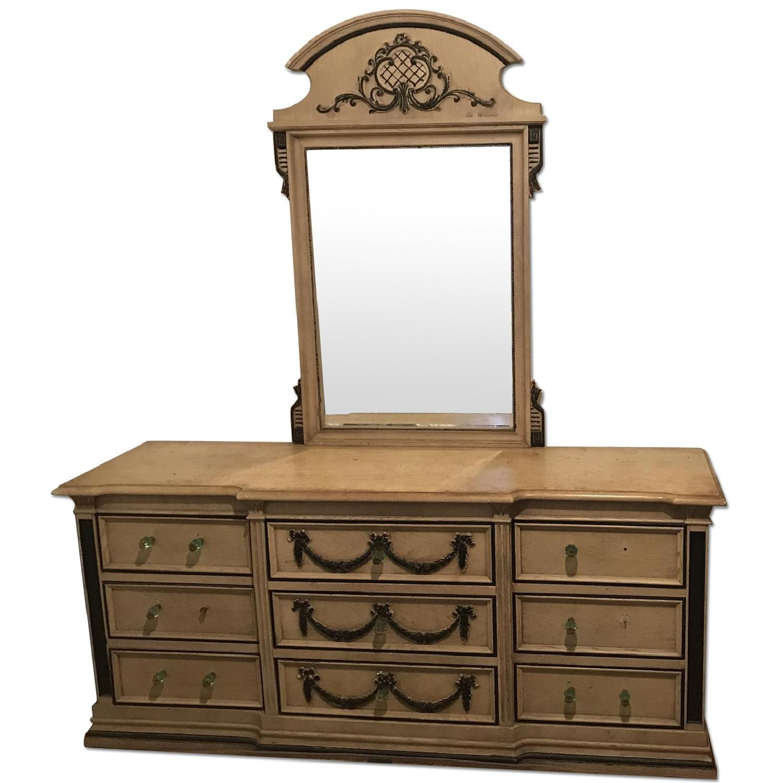 Vintage Dresser w/ Decorative Carvings & Mirror