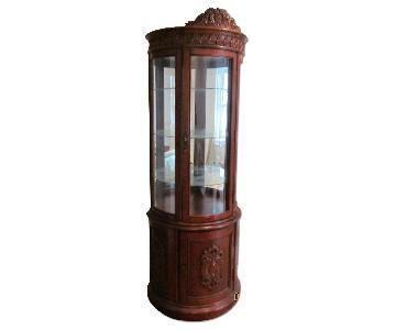 Wood & Glass Demilune Curio Cabinet