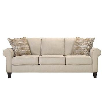 Raymour & Flanigan Grey Fabric Sofa & Ottoman