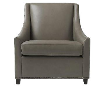 West Elm Sweep Arm Leather Chair