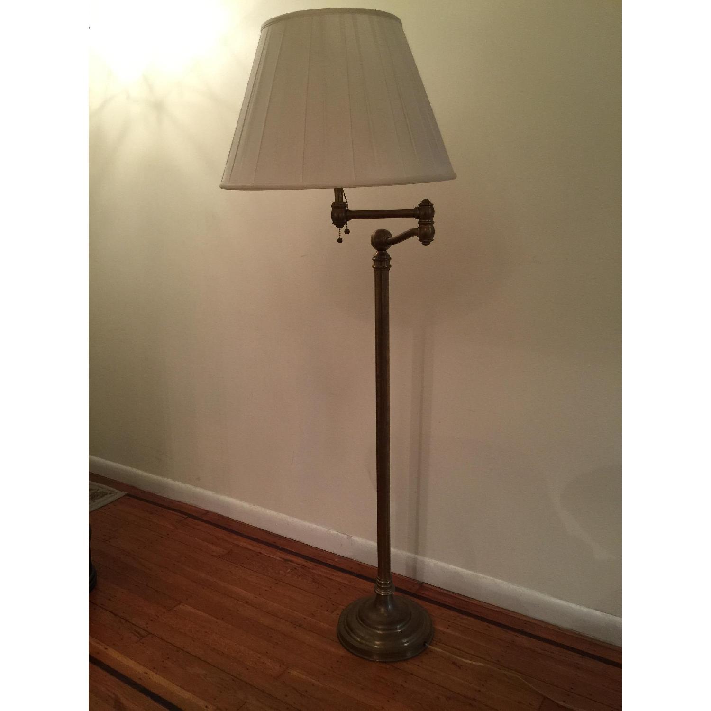 Ralph Lauren Sargent Swing Arm Floor Lamp In Natural Brass Aptdeco