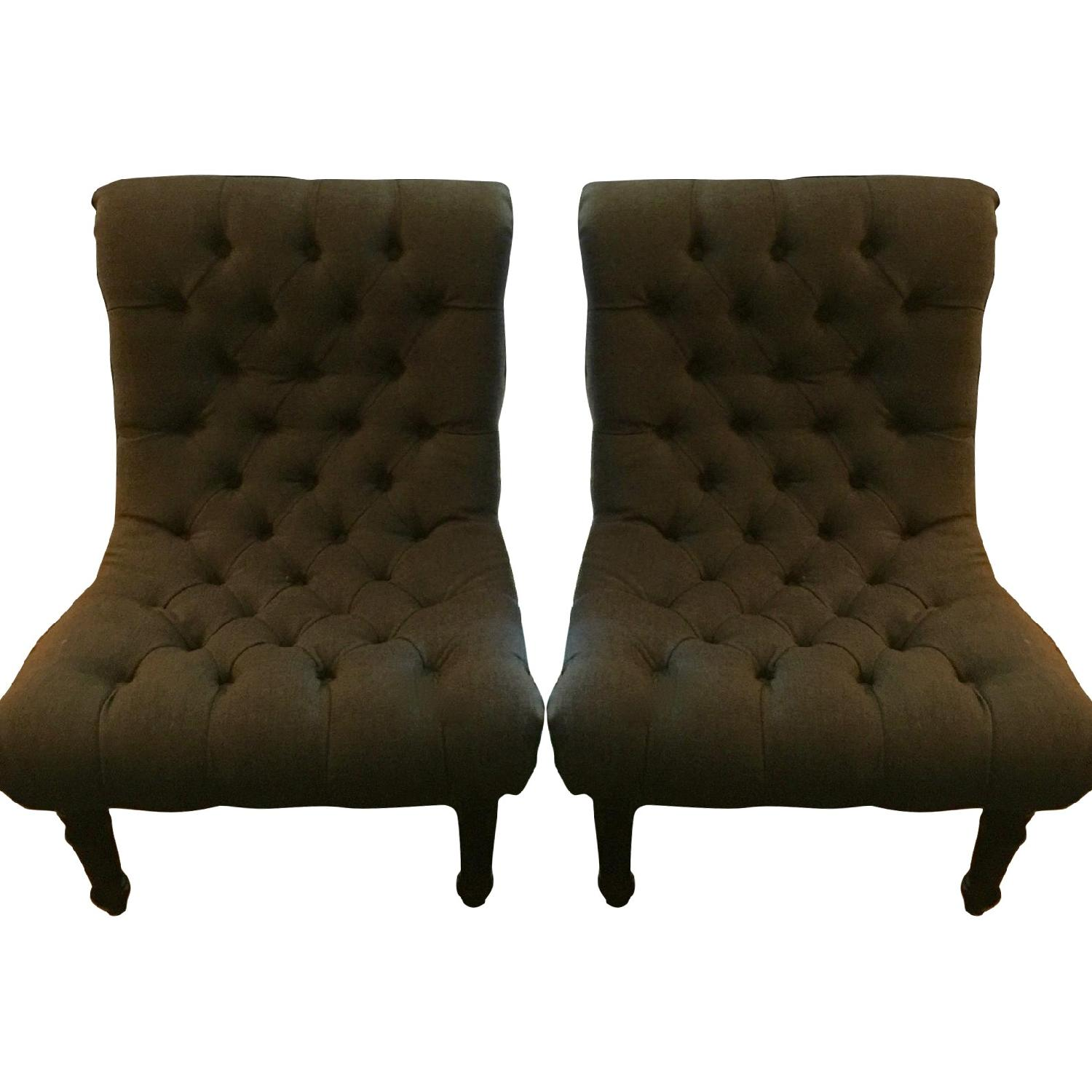 One Kings Lane Gray Tufted Armless Chairs - Pair - AptDeco