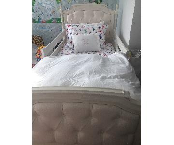 Pottery Barn Blythe Tufted Bed w/ Trundle + Nightstand
