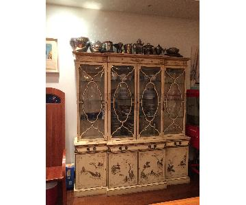 Handpainted China Cabinet w/ Leather Pull Out Desk