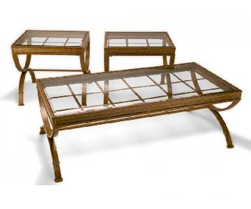Bob's Emerson Gold Coffee Table + 2 End Tables