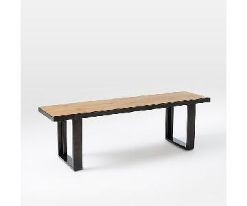 West Elm Industrial Oak & Steel Dining Bench