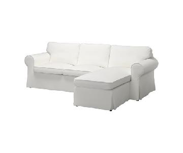 Ikea White Sectional Sofa w/ Detachable Chaise