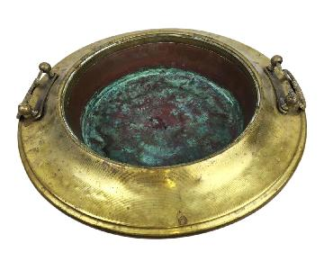 Antique French Copper Wash Bowl w/ Brass Trim & Handles
