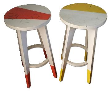 West Elm Hand Painted Counter Stools