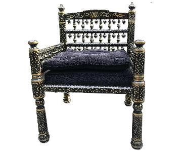 Moroccan Style Black/Gold Finial Drop Chairs