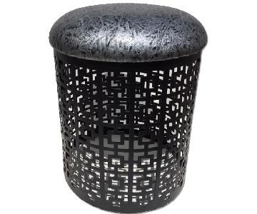 Modern In Designs Iron Cushion Stool in Black Gray Design