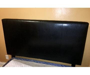CrownMark Furniture Black Upholstered Panel Full/Queen Headb