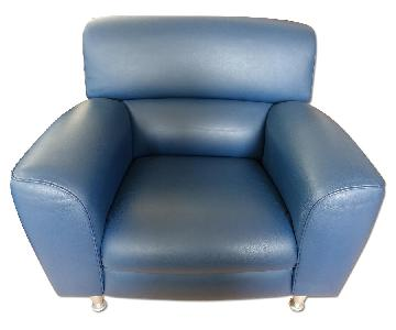 Poltrona Frau Madison Leather Armchair in Blu Notte