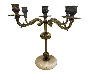 Antique French Candelabra w/ Marble Base
