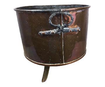 Antique French Copper Cauldron Kettle