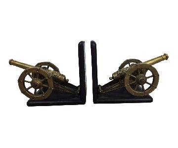 Antique Artillery French Leather & Bronze Bookends