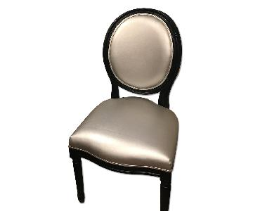 Louis XVI Round Back Silver & Black Leather Dining Side Chai