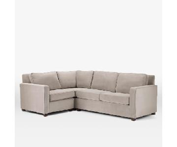 West Elm Henry Suede 3 Piece Right-Facing Sectional