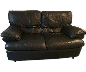 Black Faux Leather Loveseat