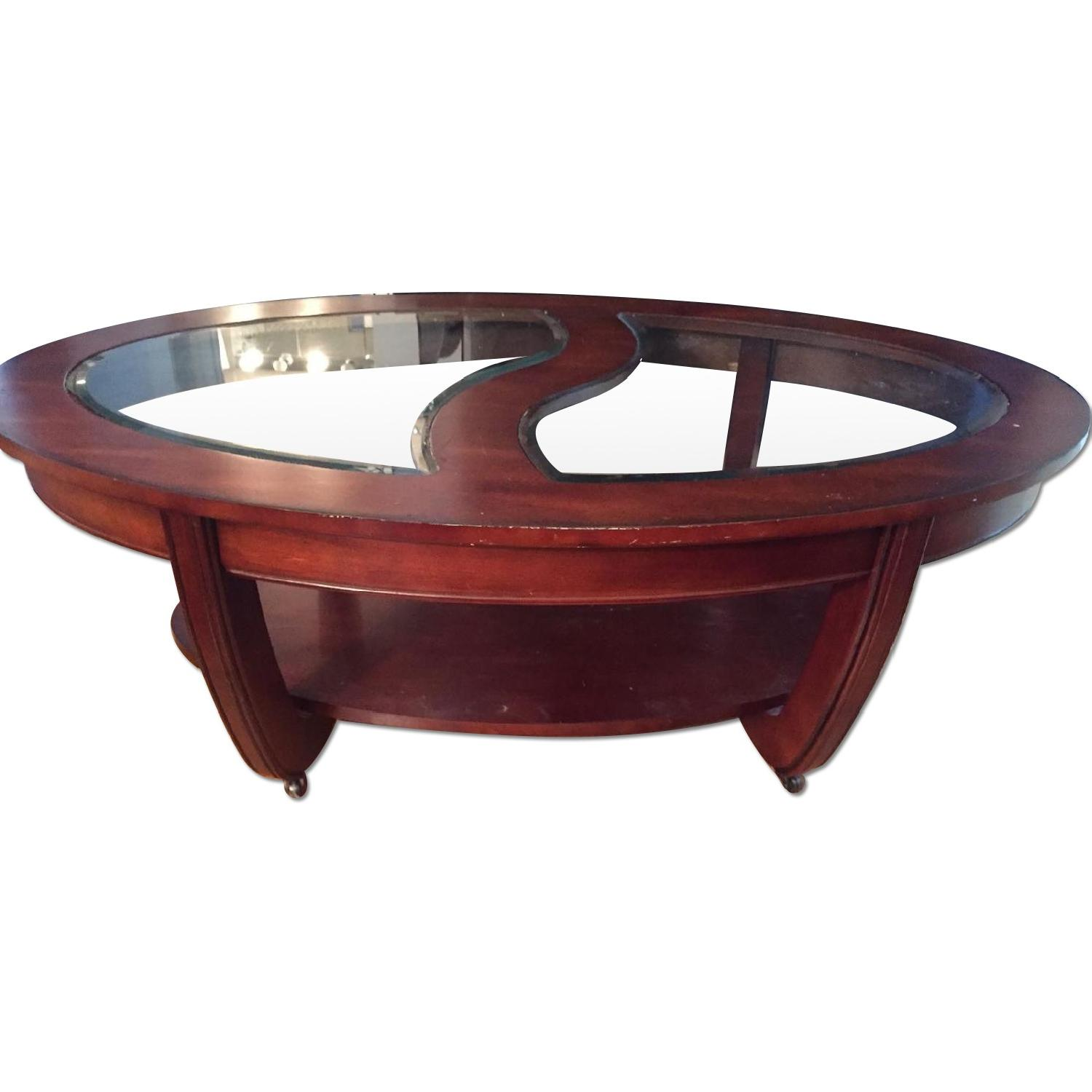 Crate Barrel Wood Glass Coffee Table