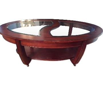 Crate & Barrel Wood & Glass Coffee Table