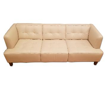 Macy's Beige Leather Sofa + Chair