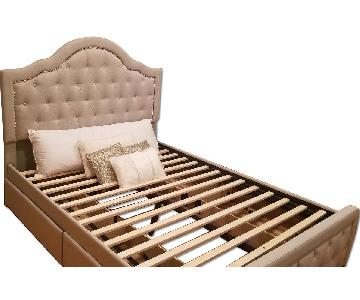 Macy's Queen Size Upholstered Bed Frame w/ Tufted Headboard