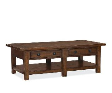 Pottery Barn Benchwright Rectangular Coffee Table w/ 2 Drawe