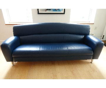 Poltrona Frau Madison Leather 3 Seater Sofa in Blu Notte