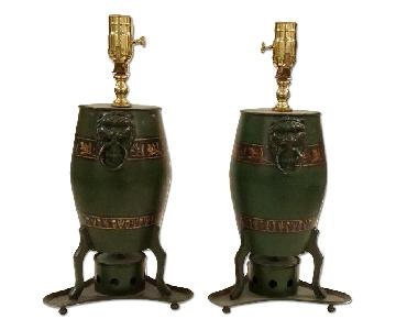 Chinese Drum Shaped Lamps in Green