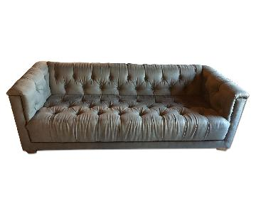 Restoration Hardware Tufted Grey Sofa