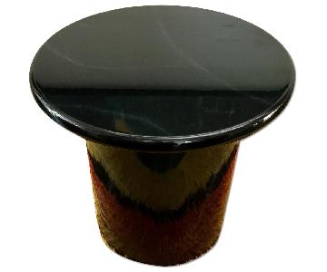 Vintage Black Lacquer Side Table