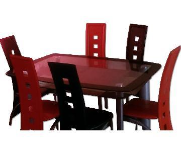 Contemporary Glass 7 Piece Dining Set