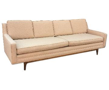 Mid Century Modern Light Pink Upholstered Sofa