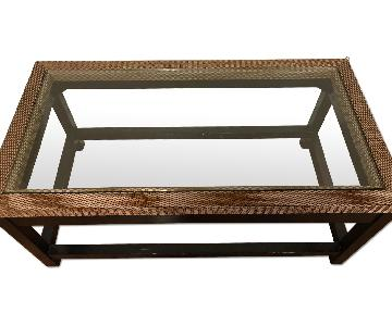 Rectangle Glass & Wood Coffee Table