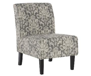 Linon Grey Woven Fabric Button Tufted Lounge Chair