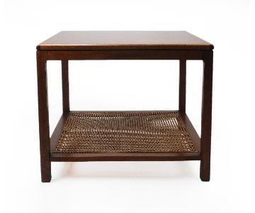 Mid Century Table w/ Woven Shelf