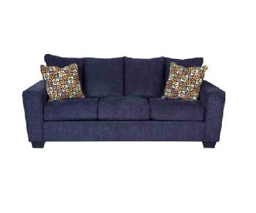 Ashley Wixon Blue Fabric 3 Seater Sofa
