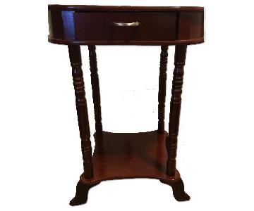 Mahogany Side Table w/ 1 Drawer & 1 Shelf