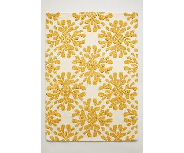 Anthropologie Yellow Floral Area Rug