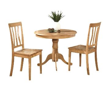 Wood Pedestal Table w/ 2 Chairs