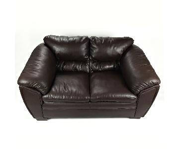 Bob's Brown Leather Loveseat