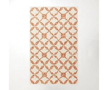 West Elm Tile Wool Orange & Cream Dhurrie Rug