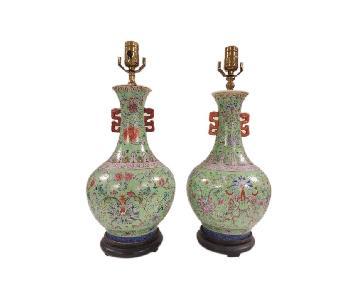 Chinese Dragon Design Porcelain Vase Lamps