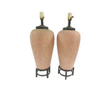 Chinese Stoneware Vase Lamps